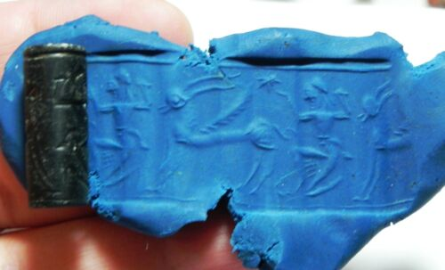 ZURQIEH -as11104- ANCIENT HOLY LAND. STONE CYLINDER SEAL. 1ST MILL. B.C