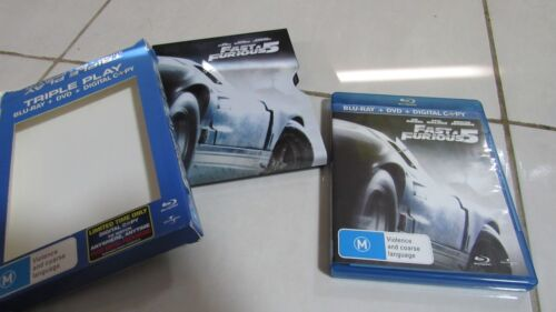 Fast & Furious 5 (DVD, 2011) RARE Steel case, R4, FREE Registered post!!