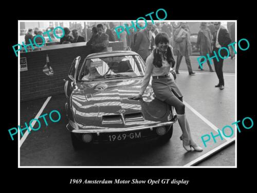 OLD LARGE HISTORIC PHOTO OF OPEL GT CAR 1969 MOTOR SHOW DISPLAY