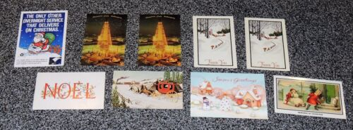 VTG Lot of 9 Christmas Post Cards Noel xmas Snow US Mail Carrier Grace Card +