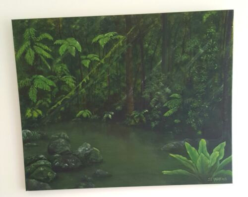 Gorgeous Green Rainforest Rockpool Acrylic Orignial Art Painting (Hand-painted)