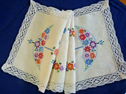 PRETTY FLORAL PARASOLS Vintage Embroidered Long Table Centre or Runner