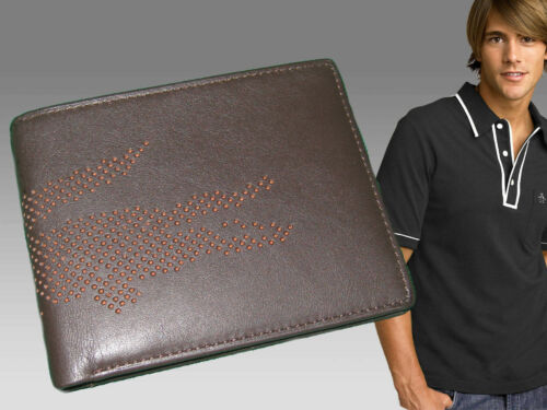 New Vintage LACOSTE Punched Croc (3) LEATHER WALLET Small Billfold Brown