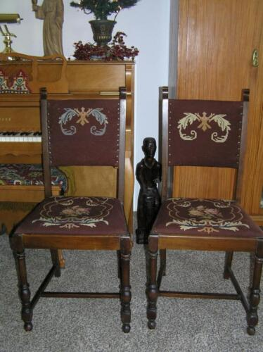 Vintage Arts & Crafts Mission Style Needlepoint Chairs