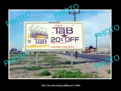 OLD POSTCARD SIZE PHOTO OF TAB COLA DRINKS ADVERTISING BILLBOARD c1960s 2