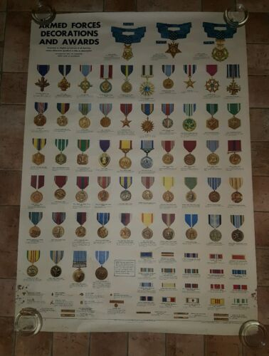 Vintage 1969 Armed Forces Decorations and Awards Poster Other Militaria - 135