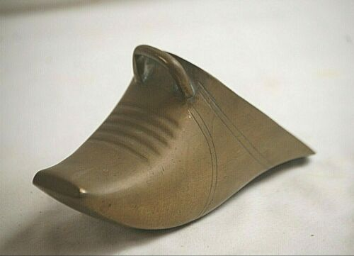 Old Vintage Antique Chinese 19th Century Brass Shoe Form Single Stirrup Armor