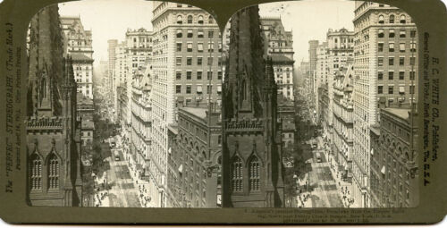 H C WHITE STEREOVIEW BROADWAY FROM EMPIRE BUILDING PAST TRINITY CHURCH N Y CITY