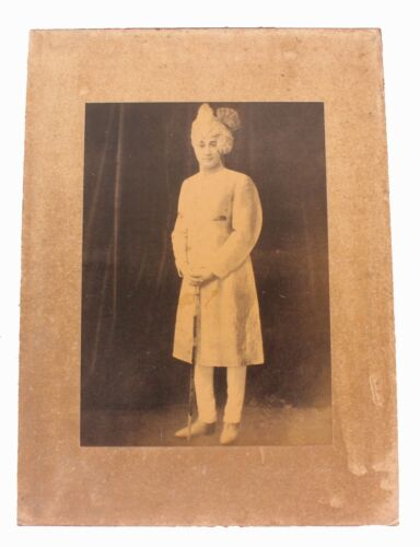 Old Vintage Black & White Indian Rajasthan Prince Photograph Litho Print