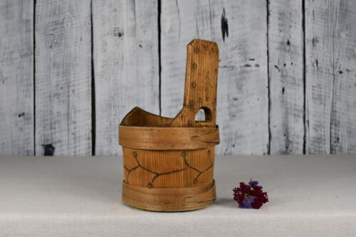 Antique wooden bowl / Rustic bucket with handle / Primitives wooden vessel