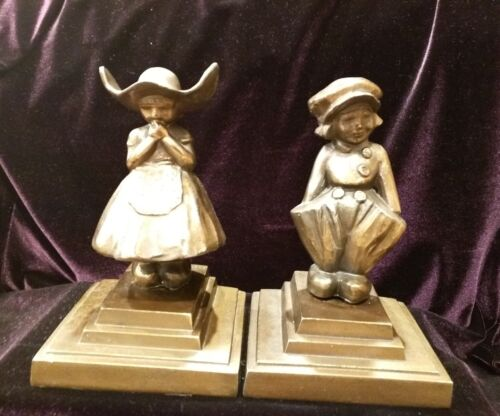 Vintage Metalic FRANKART Dutch Girl and Boy Bookends