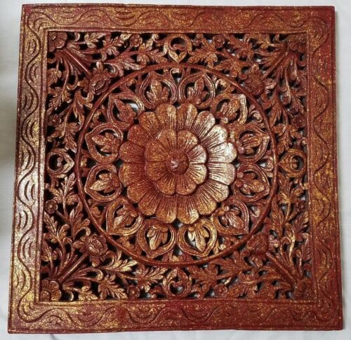 "ANTIQUE CHINESE HAND CARVED WOOD PANEL - FLOWER - GILT FLECKED - 24"" BY 23 1/2"""