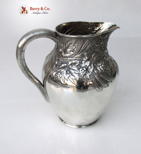 Beer Pitcher Repousse Hops Wheat William Durgin Sterling Silver 1886
