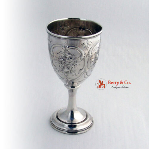 Floral Repousse Goblet Coin Silver 1860
