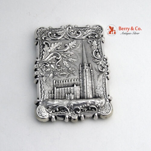 Castle Top Card Case Trinity Church Wall St Coin Silver 1860 T L Read