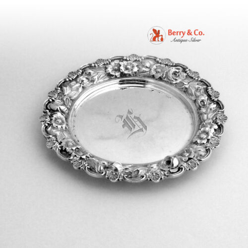 Vintage Rose Repousse Coaster Stieff Sterling Silver 1927