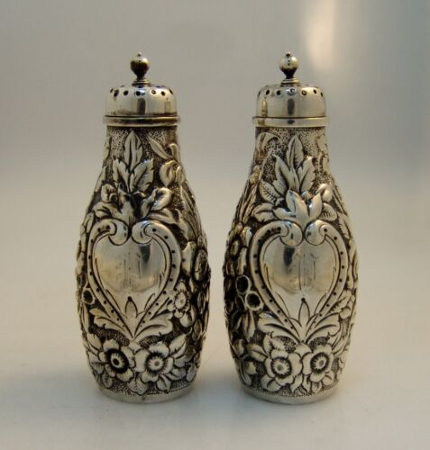 American Sterling Silver Dominick and Haff Repousse Salt Pepper Shakers 1875