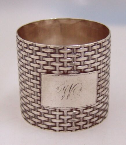 American Coin Silver Basket Weave Napkin Ring Wood Hughes New York 1875