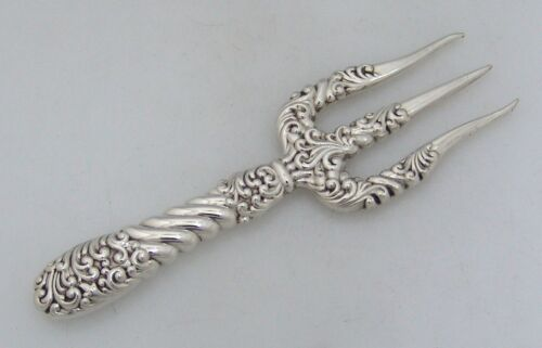 American Sterling Silver Repousse Toast Fork Gorham 1890