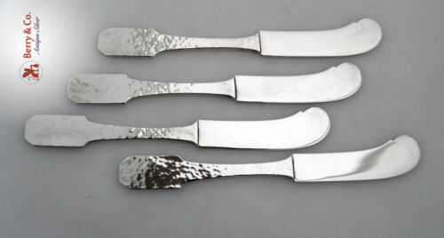 Norman Hammered Set of 4 Butter Spreaders Shreve And Co Sterling Silver 1909