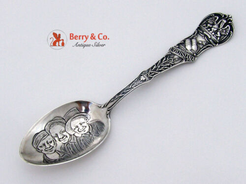 Louisiana Souvenir Spoon 3 Black Boys Bowl Watson 1900 Sterling Silver
