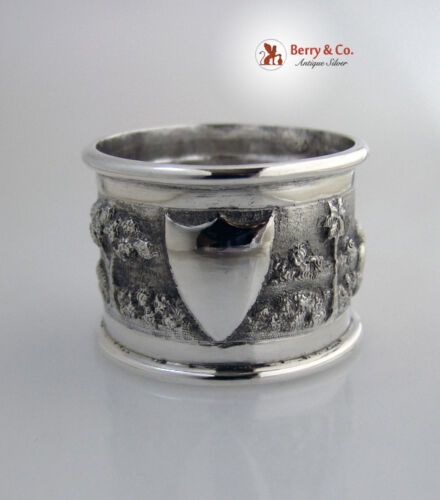 Indian Colonial Napkin Rings Repousse Village Scene Sterling Silver 1890