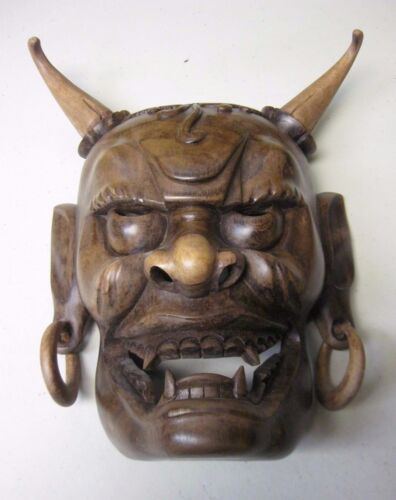 BALINESE WOOD HAND CARVED EVIL WARRIOR MASK FROM INDONESIA - APPROX 10""