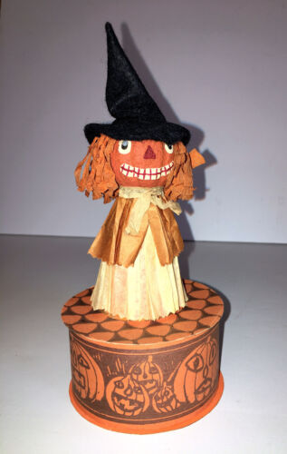 VINTAGE HALLOWEEN FOLK ART WITCH CANDY CONTAINER.  Signed Jan Kirby - Texas.