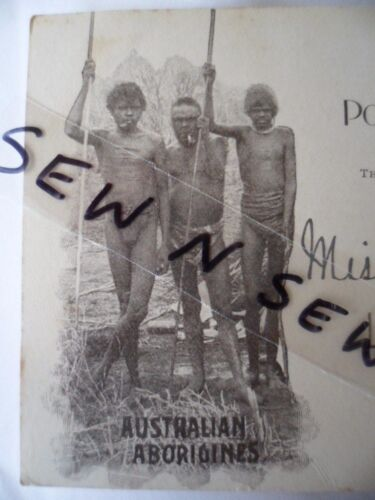 ANTIQUE VINTAGE OLD POSTCARD ABORIGINAL MEN with SPEARS WEEPING ROCK NSW STAMP