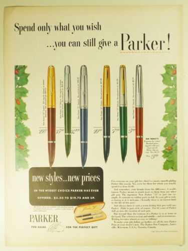 """Vintage 1952 PARKER """"51"""" & """"21"""" Fountain Pen Full Page Print Ad: Christmas"""