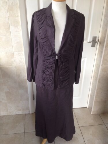 Sticky Fingers Ladies Brown Linen Skirt and Top / Jacket Size 12 Great Condition
