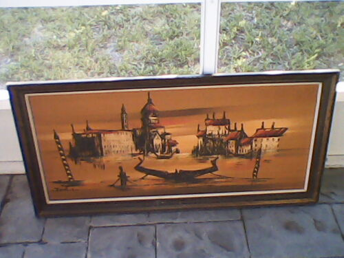 Asian Junk Boat Or Vienna Painting vintage 50's on Masonite Board!