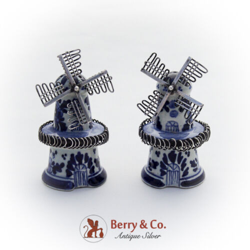 Delft Windmill Salt Pepper Shakers Pair Dutch 835 Standard Silver 1930