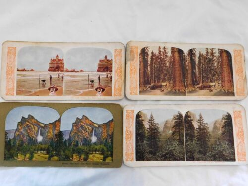 4 AMAZING Antique STEREOVIEW CARDS; CLIFF HOUSE in SF, YOSEMITE, GIANT REDWOODS