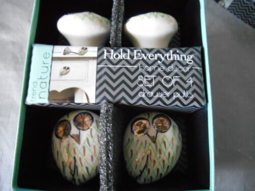 Set Of 4 TREND NATURE Owl Ceramic Cabinet Knobs Drawer Pull Gold Green Ivory