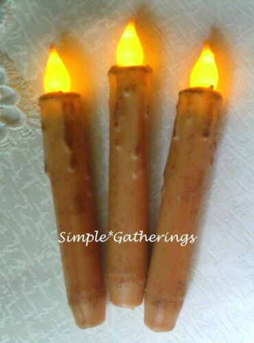 """Grungy IVORY TIMER Taper Candles 6.5"""" Set of 3 Beeswax LED Primitive Farmhouse"""