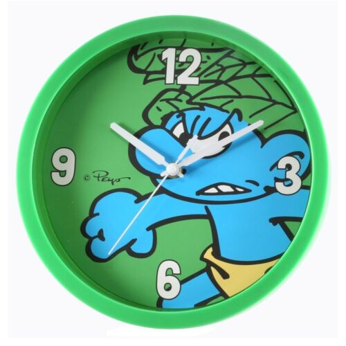 The Smurfs Wild Green Smurf Children's Fun Analogue Wall Clock 25cm Sealed NEW