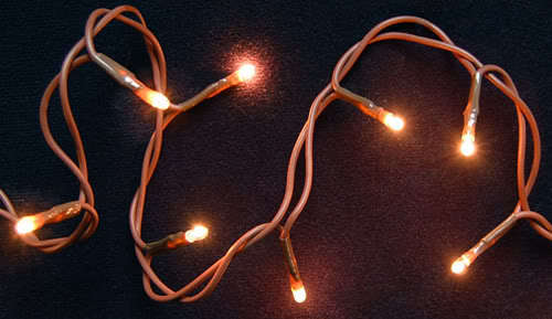 SET 50 RICE LIGHTS BROWN CORD TREE WREATH GARLAND -ap