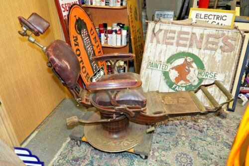 Antique rare Dental Chair cast iron.see my other Vintage porcelain neon sign OLD