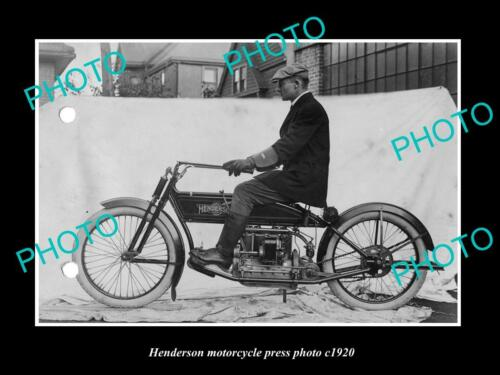 OLD 8x6 HISTORIC PHOTO OF HENDERSON MOTORCYCLE PRESS PHOTO 3 c1920