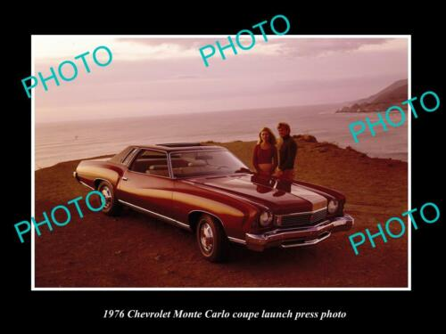 OLD 8x6 HISTORIC PHOTO OF 1976 CHEVROLET MONTE CARLO COUPE LAUNCH PRESS PHOTO