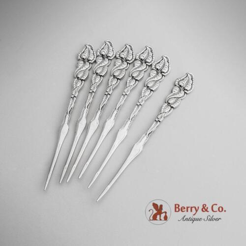 Tiffany Co Ailanthus Nut Picks Sterling Silver 6 Pieces 1899