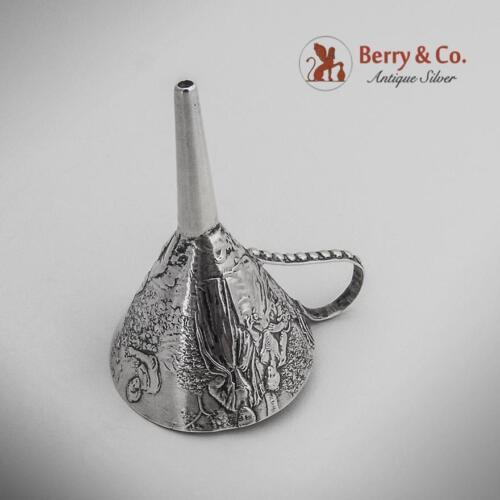 Happy Gentry Relaxing Flask Funnel German Hanau 800 Silver Gebruder Glaser 1890