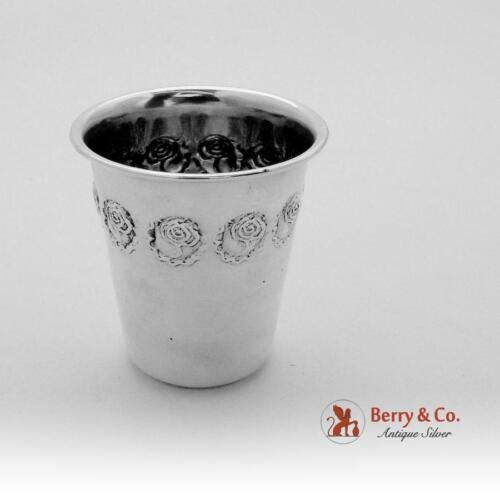 Embossed Rose Small Liquor Shot Cup 800 Silver 1920