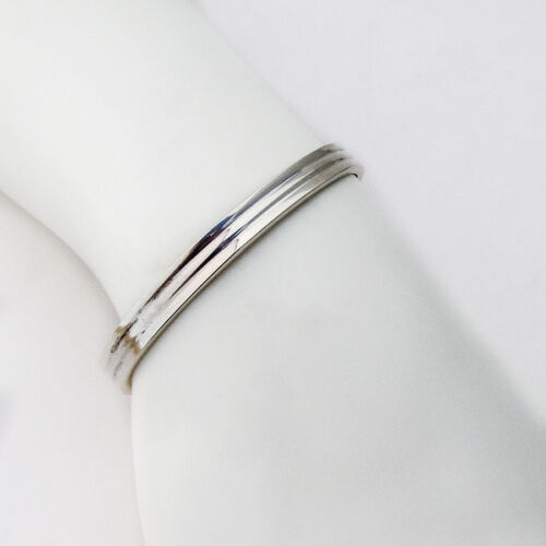 Vintage IC Handwrought Sterling Silver Reeded Cuff Bracelet