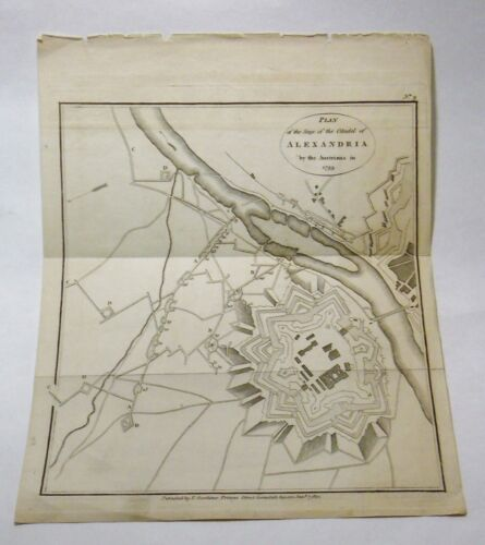 ANTIQUE MAP SIEGE PLAN OF ALEXANDRIA BY AUSTRIANS 1799 PUBLISHED GARDINER 1812 Original Period Items - 13957
