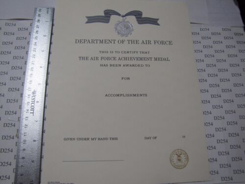USAF AIR FORCE ACHIEVEMENT MEDAL CERTIFICATE Obsolete embossed orig. unsignedArmy - 66529