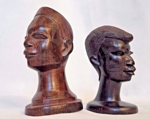 Carved Pair Wood African Women Heads Sculpture Iron Wood