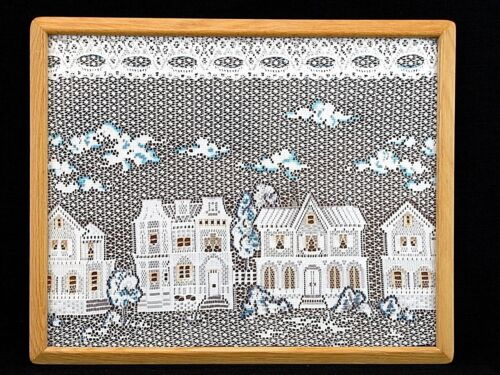 """Framed Colored Lace Picture Victorian Houses Neighborhood Scene 21"""" x 17"""""""