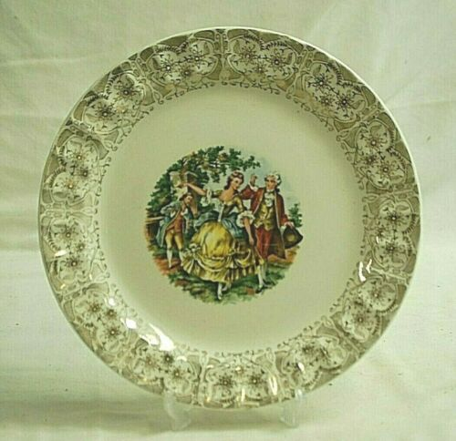 "Cronin China 10-1/4"" Dinner Plate Victorian People Ruffled 22K Gold Filigree Rim"